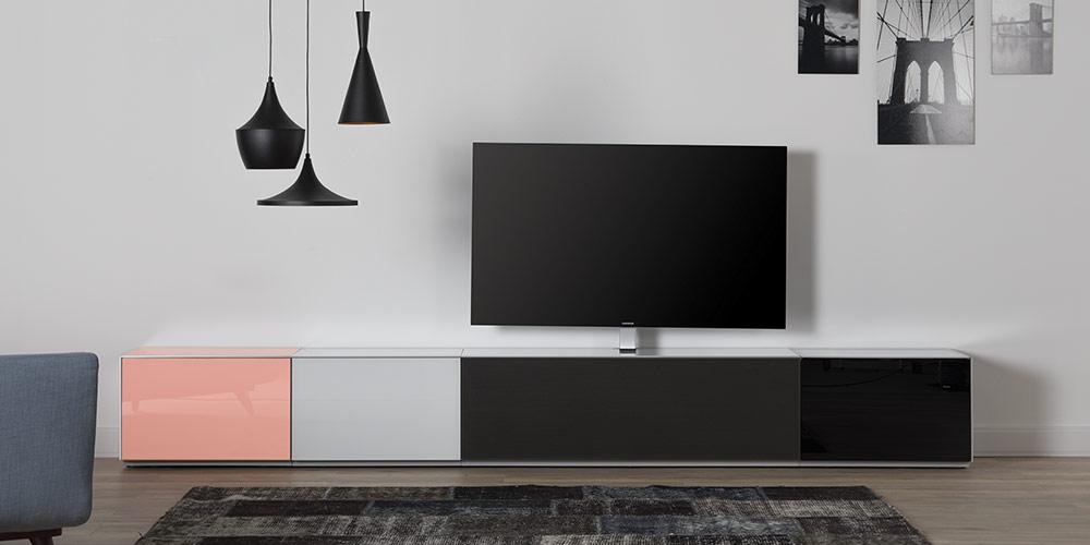 Набор тумб в гостинную для ТВ и акустики со стеклом и акустической тканью
