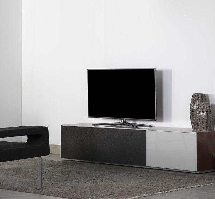 Модульная тумба для телевизора покрытая стеклом и керамикой от Sonorous