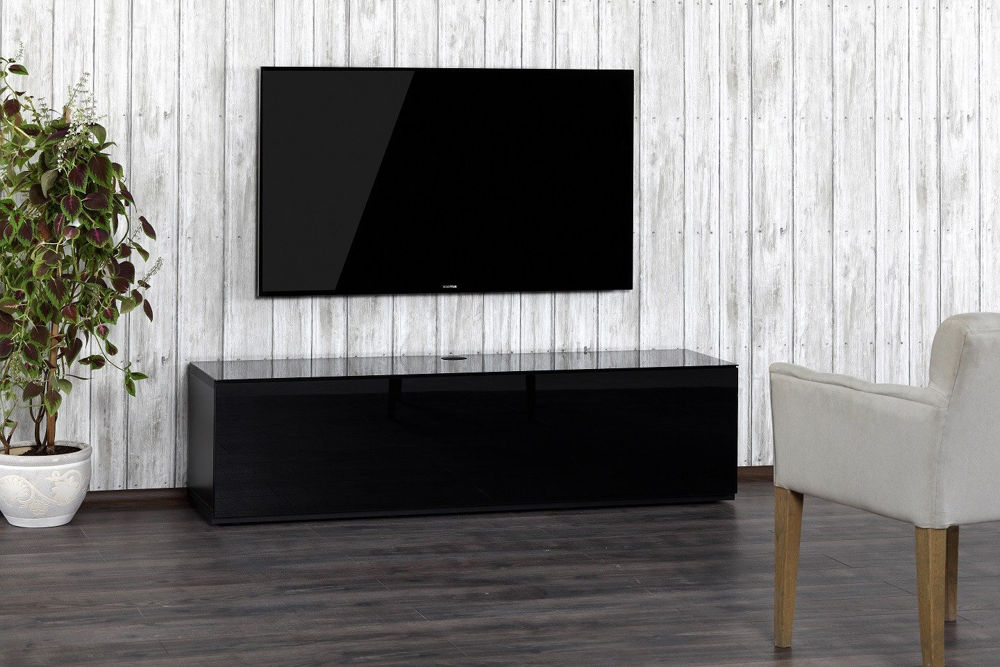 Тумба для ТВ Sonorous STA 160T черный корпус/фасад черная ткань