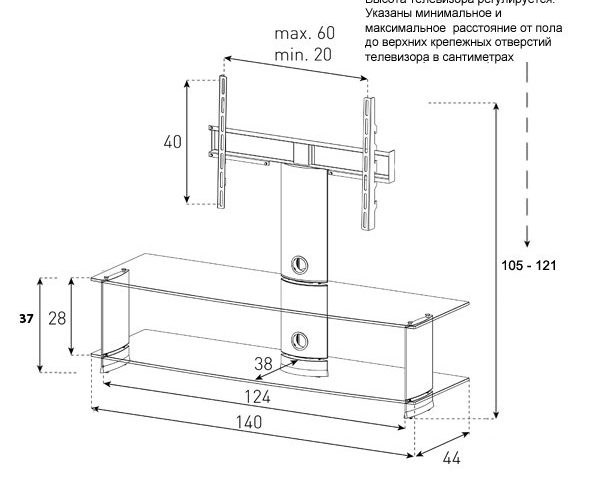 Стойка под ТВ Sonorous PL 2000-C-SLV схема
