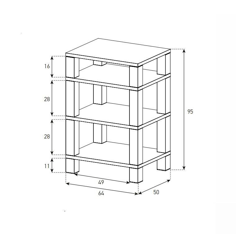 Стойка под AV-компоненты Sonorous RX-5040-VIC-HBLK_схема