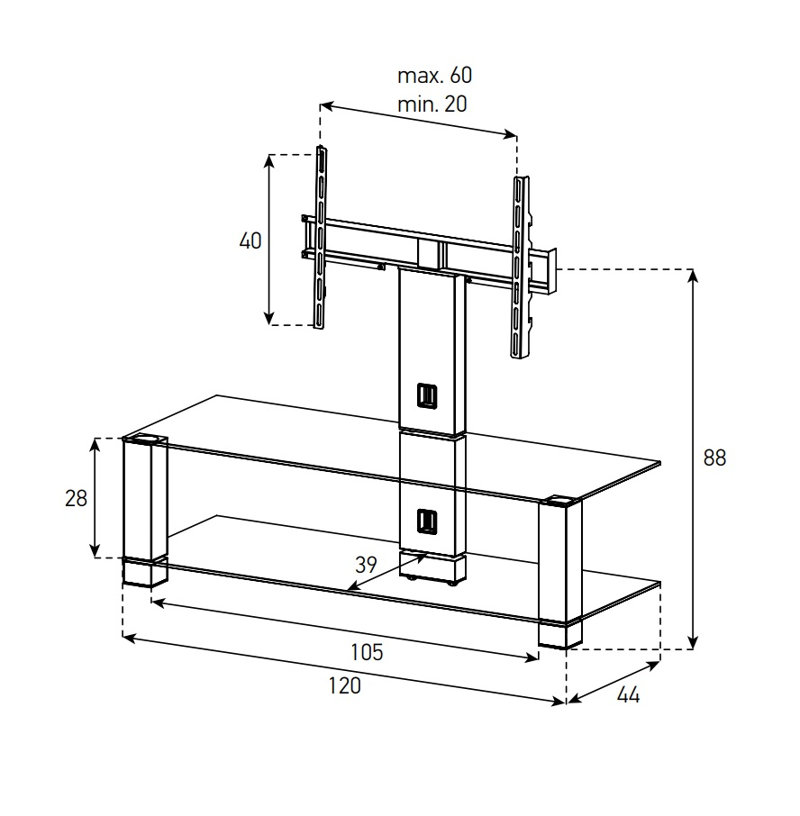 Стойка под ТВ Sonorous PL 2400-B-HBLK схема