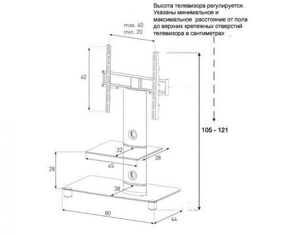 Стойка под ТВ Sonorous PL 2380-B-SLV схема