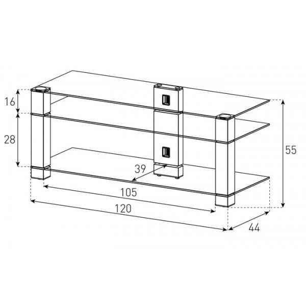 Стеклянная Тумба под ТВ Sonorous PL 3400-B-HBLK схема