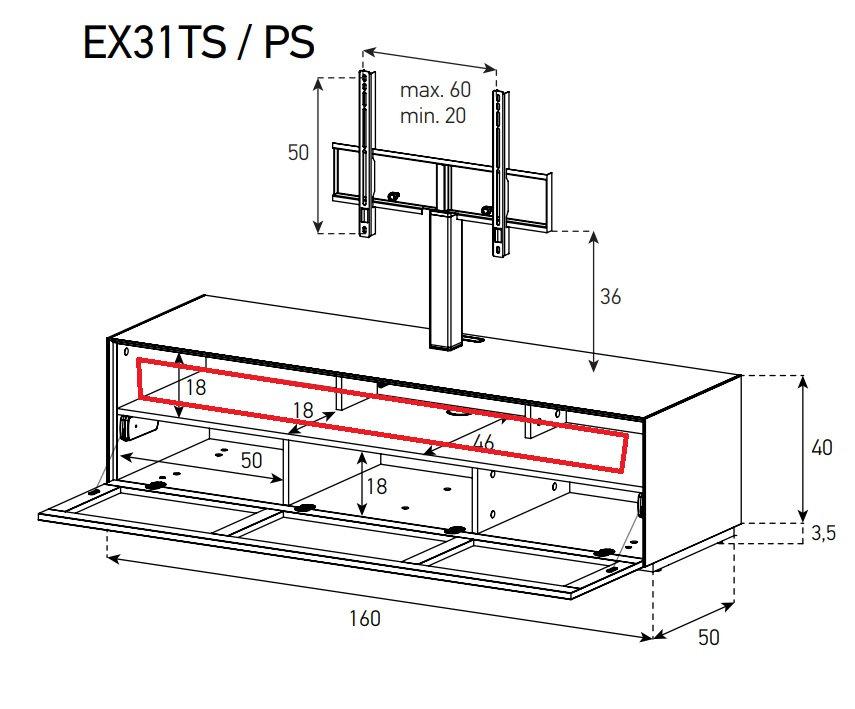 SONOROUS EX31PS (место для саундбара)