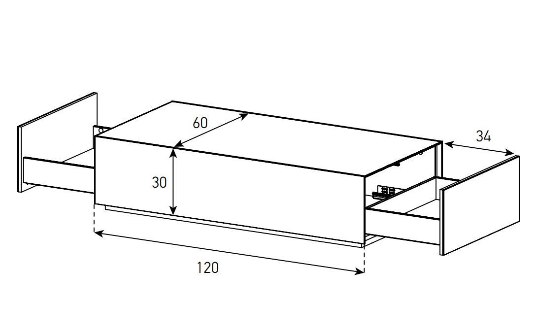 Стеклянный Журнальный стол 120х60 схема