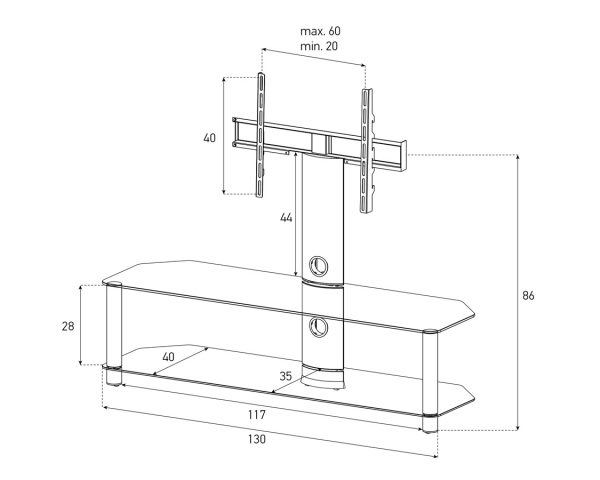 Стойка под телевизор Sonorous NEO 130-C-SLV (схема)