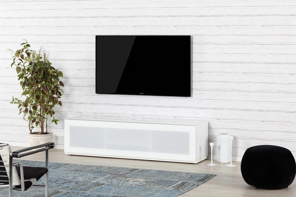 Тумба для ТВ Sonorous STA 160 белый корпус/фасад белое стекло