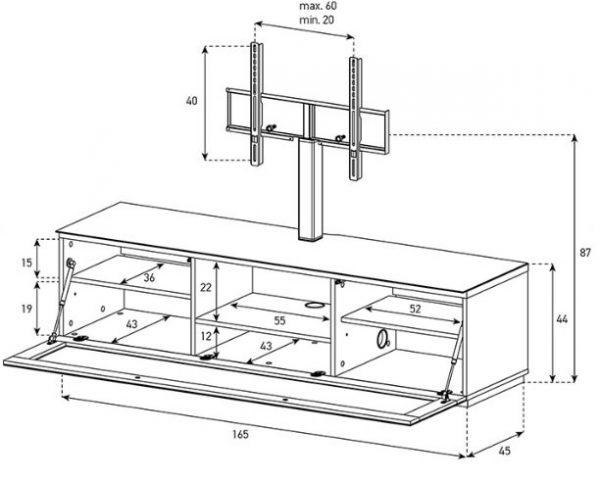 ТВ тумба Sonorous STA 161T-BLK-BLK-BS (схема)