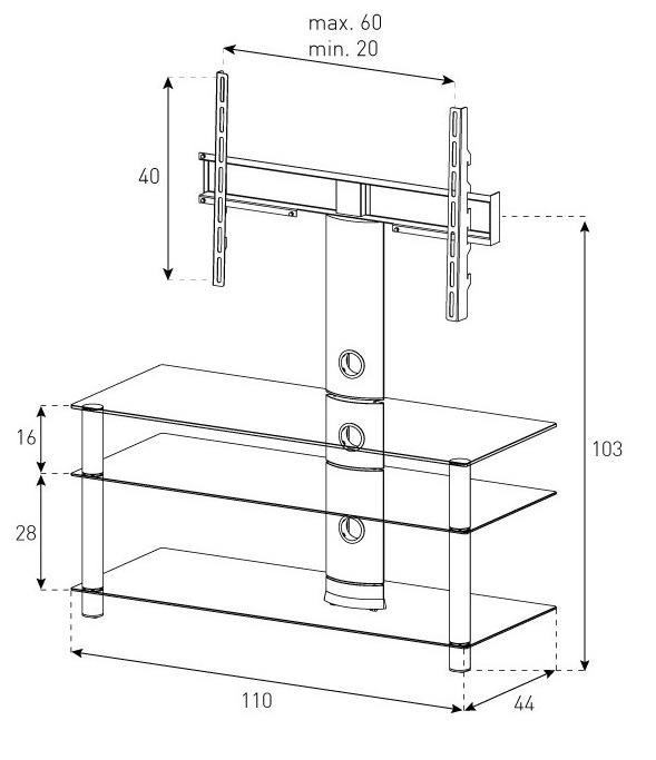 Стойка под телевизор Sonorous NEO 1103-B-SLV (схема)