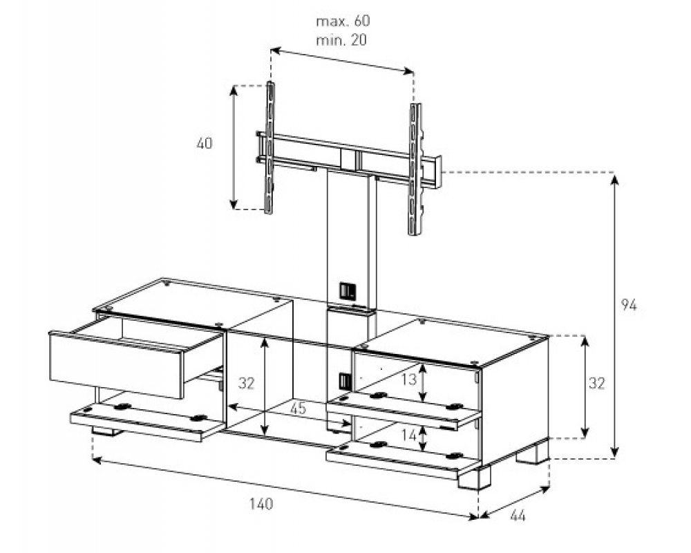 Тумба под телевизор с кронштейном Sonorous MD 8540-B-INX-WNT - 1