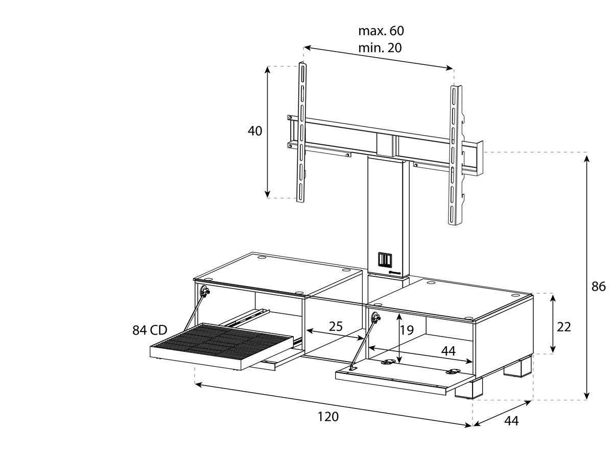 Тумба под телевизор с кронштейном Sonorous MD 8120-B-INX-BLK (схема)