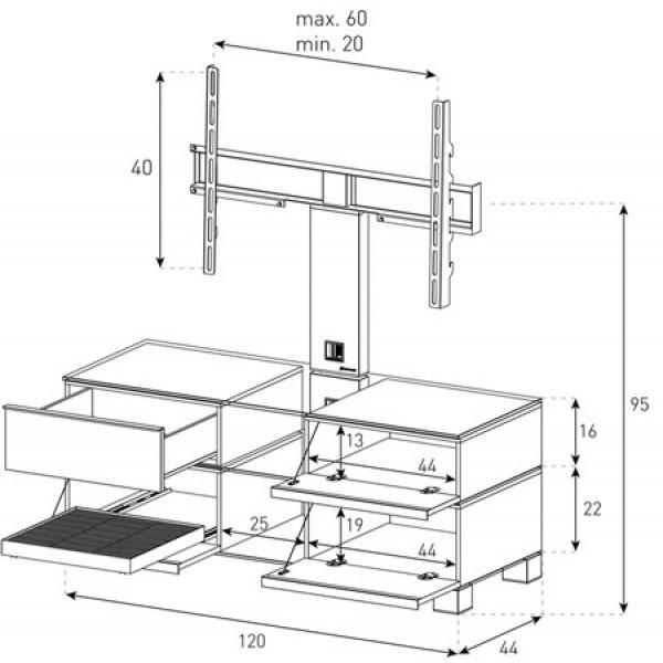 Тумба под телевизор с кронштейном Sonorous MD 8220-C-HBLK-WHT (Схема)