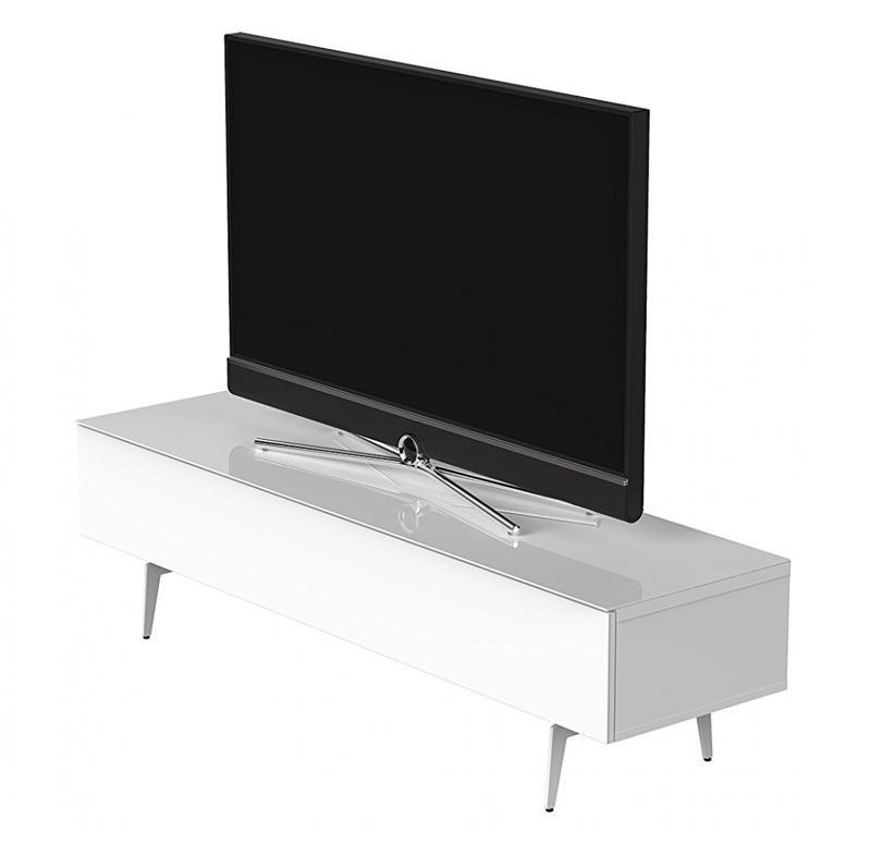 ТВ тумба на ножках Sonorous STA 360 белый корпус/фасад белое ДСП с телевизором
