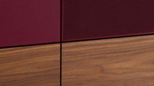 Набор тумб для ТВ в стекле, дереве и ткани шириной 260 см - 1