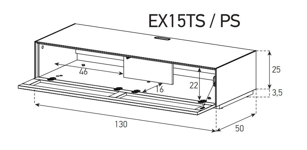 Схема Низкая Тумба для ТВ и саундбара в стекле и перфорированном метале шириной 130 см