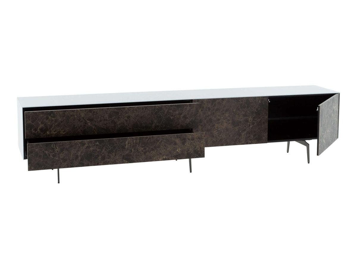 Низкий Комод в гостинную в стекле и керамике на ножках шириной 230 см