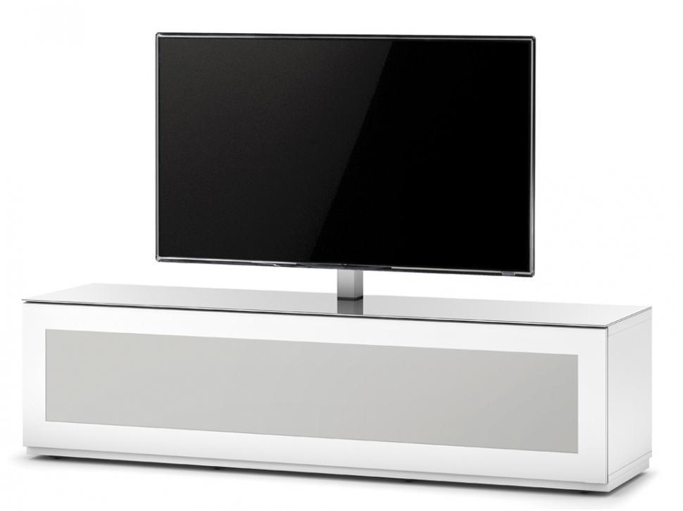 Тумба для ТВ с кронштейном Sonorous STA 161 белый корпус/фасад белое стекло
