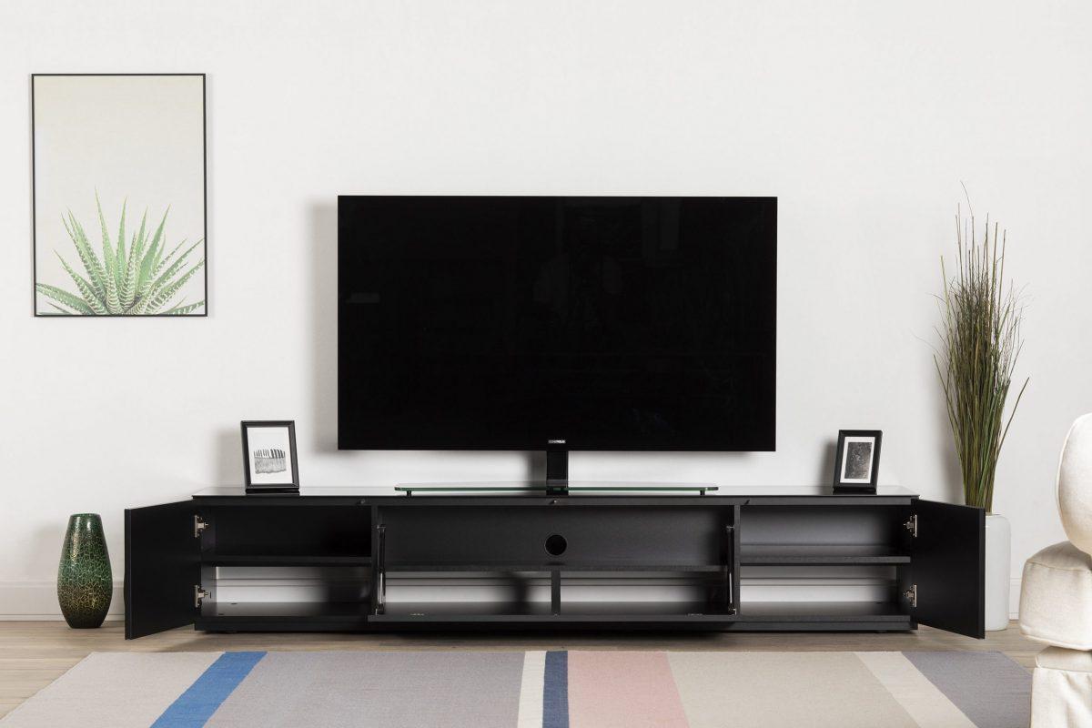 ТВ тумба Sonorous STA 200T (черное стекло с акустической тканью)