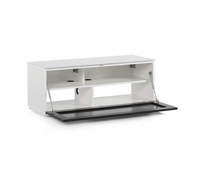 Тумба для ТВ Sonorous STA 110 белый корпус/фасад черное стекло