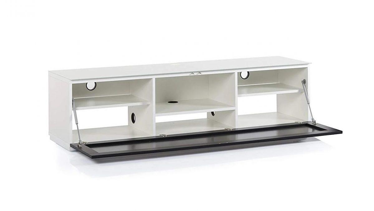 Тумба для ТВ Sonorous STA 160 белый корпус/фасад черное стекло