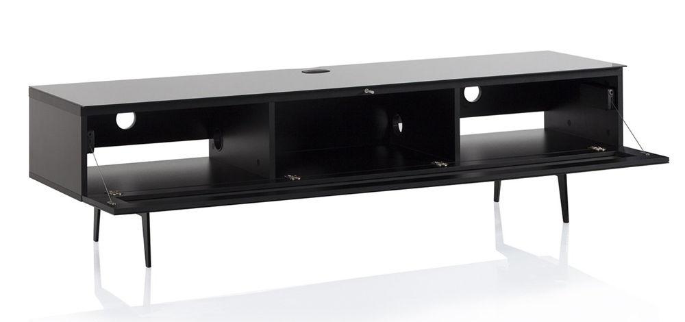 ТВ тумба на ножках Sonorous STA 360 черный корпус/фасад белое стекло