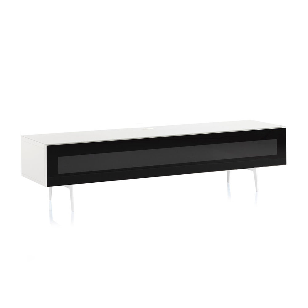 ТВ тумба на ножках Sonorous STA 360 белый корпус/фасад черное стекло