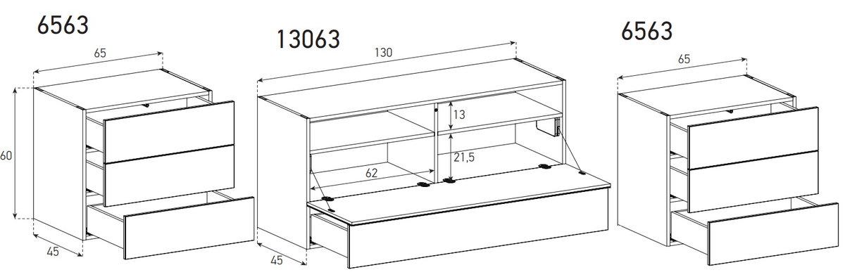Схема Длинный комод в гостинную в стекле и шпоне шириной 260 см