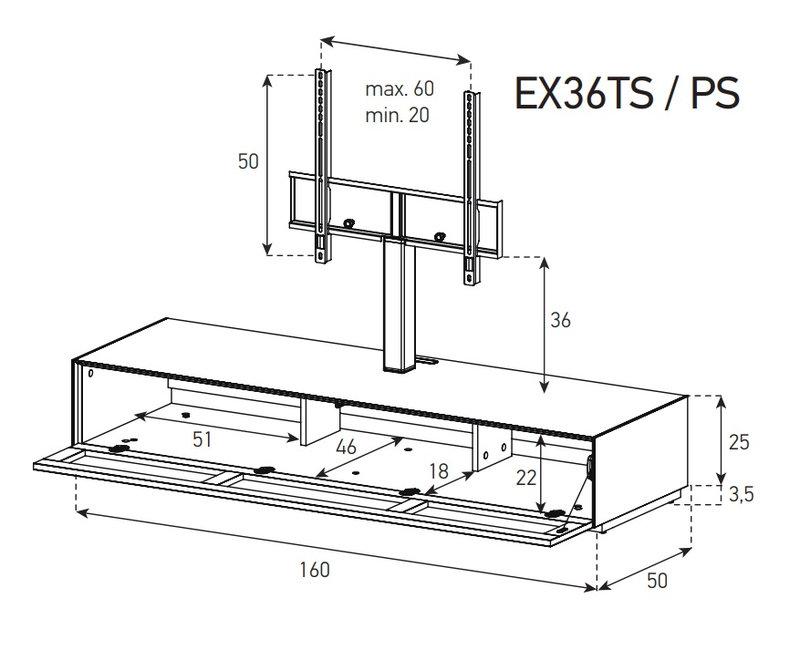 Схема Низкая Тумба для ТВ и саундбара в стекле и ткани шириной 160 см
