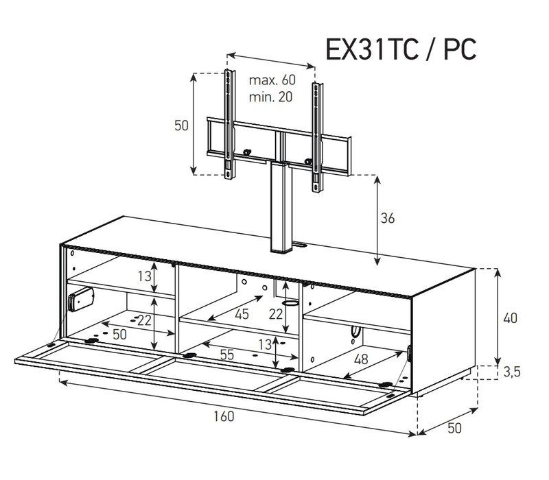 Схема Тумба для ТВ и акустики в стекле и ткани шириной 160 см