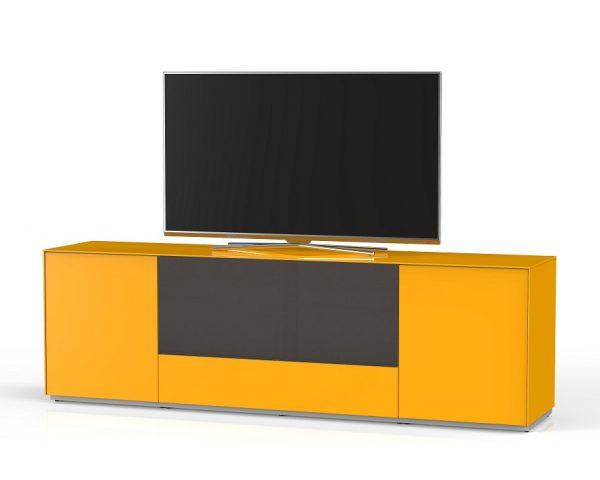 Длинный комод для ТВ в гостинную в стекле и ткани шириной 200 см