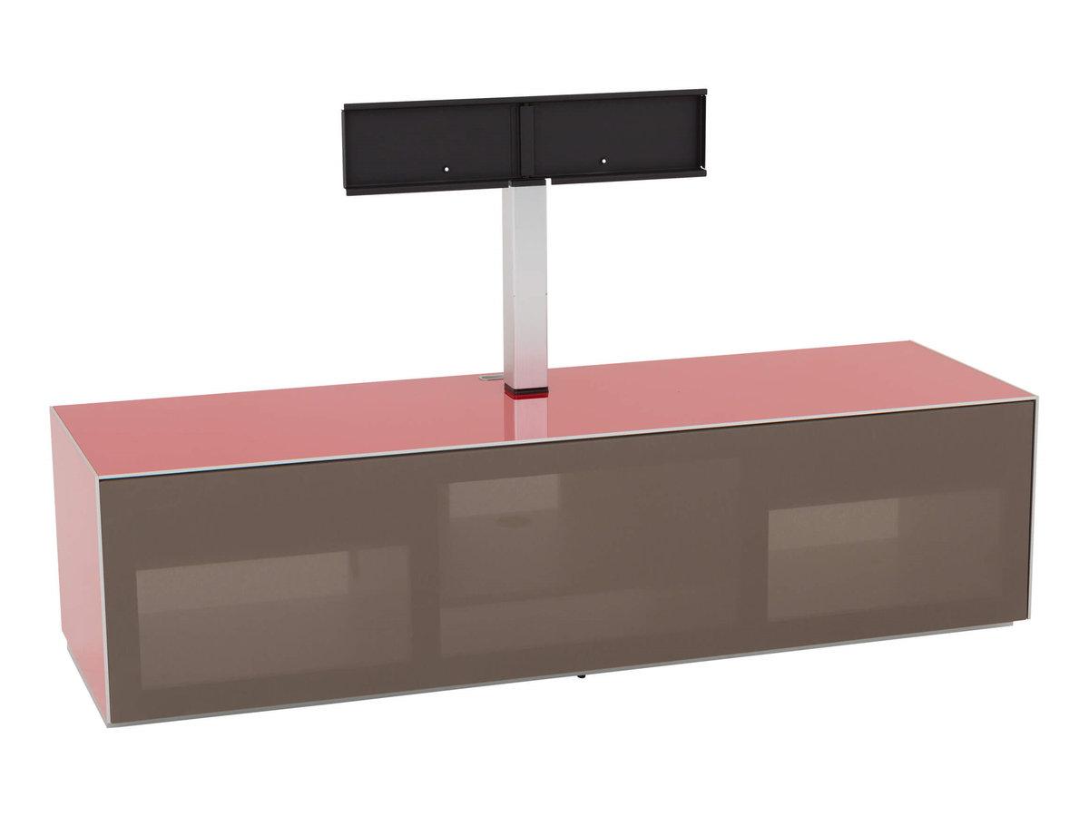 Тумба для ТВ и акустики в стекле и ткани шириной 160 см