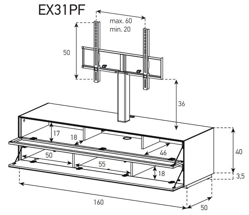 Схема Тумба для ТВ и акустики в стекле и перфорированном метале шириной 160 см