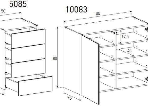 Дизайнерский Комод-Сервант модульной конструкции SONOROUS-схема