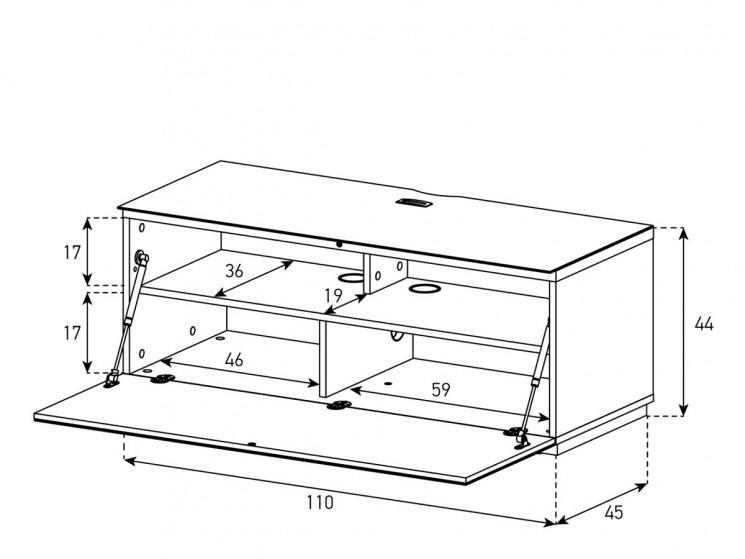 Тумба для ТВ Sonorous STA 110 белый корпус/черный фасад ДСП-схема