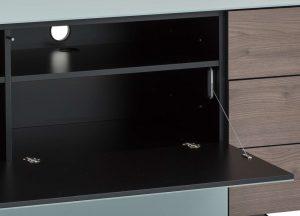 Длинный комод в гостинную в стекле и шпоне шириной 260 см